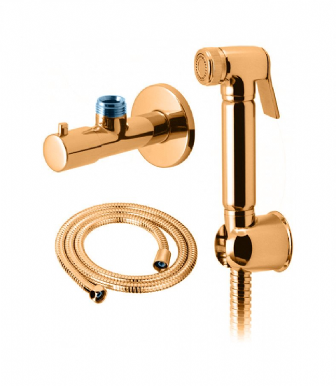 DoratO Gold Douche Bidet Shattaf Shower Spray and Isolator Kit